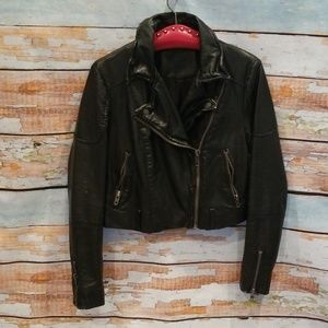 Free People S/P Black Faux Leather Moto Jacket!